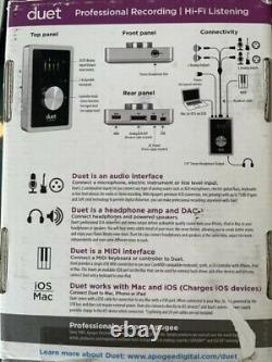 APOGEE DUET 2 USB 2.0 Mac Audio Interface Midi Recording Excellent Condition