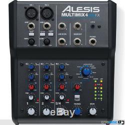 Alesis Multimix 4 USB FX, Home Recording Studio Mixer, Audio Interface, Software