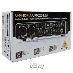 Behringer U-PHORIA UMC204HD USB Audiophile 24-bit Audio Interface MIDAS Preamps