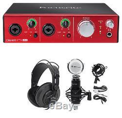 Focusrite Clarett 2Pre USB Audio Recording Interface+Headphones+Mic+Cables+Mount