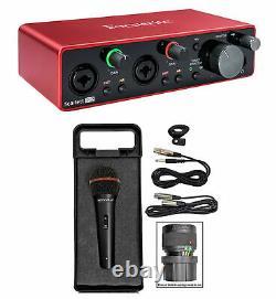 Focusrite SCARLETT 2I2 3rd Gen 192KHz USB Audio Interface+Microphone+Cable+Case