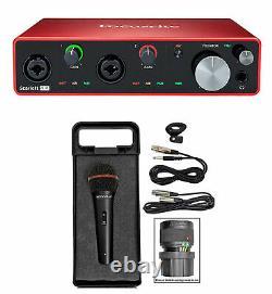 Focusrite SCARLETT 4I4 3rd Gen 192KHz USB Audio Interface+Microphone+Cable+Case