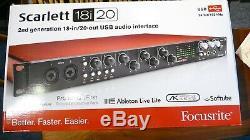 Focusrite Scarlett 18i20 2nd Generation USB Audio Interface. Original box & Instr