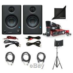Focusrite Scarlett 2i2 USB Audio Interface with PreSonus Studio Speakers + Cables
