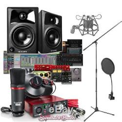 Focusrite Scarlett Solo Studio Recording Bundle with M-Audio AV32 Monitors