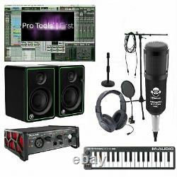 Home Studio Recording Bundle Mackie Monitors Tascam Keyboard with Pro Tools First