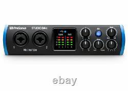PreSonus Studio 24C 2X2 USB-C 24-bit/192kHz with 2 Mic Inputs Audio Interface