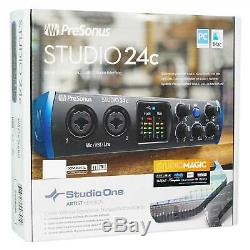 Presonus STUDIO 24C 2x2 USB-C Audio MIDI Recording Interface, 2 XMAX Mic Preamps